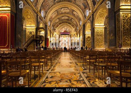 Malta, Valletta, St. John's Co-Cathedral, interior - Stock Photo
