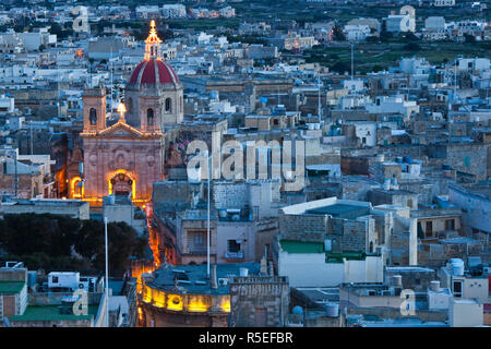 Malta, Gozo Island, Victoria-Rabat, elevated town view with Basilica of St. George from Il-Kastell fortress - Stock Photo