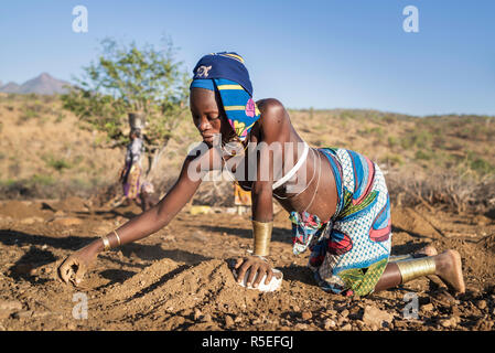Mucubale women working in the field collecting sheep dung to use it as fertiliser. - Stock Photo
