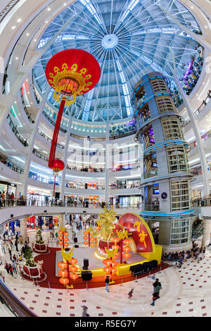 Malaysia, Selangor State, Kuala Lumpur, interior of a modern shopping complex at the foot of the Petronas Towers - Stock Photo