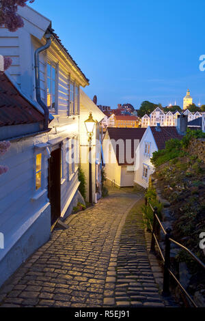 Old wooden buildings, Gamle Stan (old town), Stavanger, Rogaland County, Norway - Stock Photo