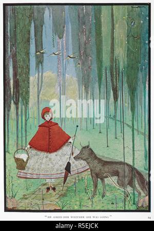 'He asked her whither she was going.' Red Riding Hood meets the wolf, in a forest. The Fairy Tales of Charles Perrault. [The translat. G. A. Harrap & Co.: London, [1922.]. Source: 12450.v.1, plate opposite page 24. Language: English. - Stock Photo