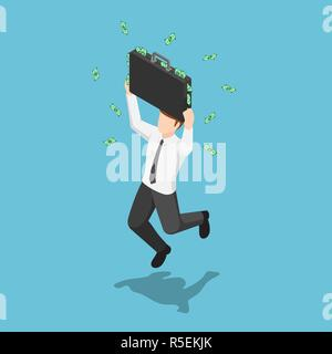 Flat 3d isometric businessman jumping and celebrating with suitcase full of money. Business success concept. - Stock Photo