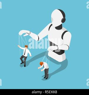 Flat 3d isometric Ai robot controlling businessman like a puppet. Artificial intelligence technology concept. - Stock Photo