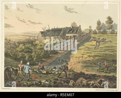 A front view of the farm of La Haye Sainte. In the foreground, bodies of the killed, being buried. An Historical Account of the Campaign in the Netherlands, in 1815, under His Grace the Duke of Wellington, and Marshal Prince Blucher, comprising the battles of Ligny, Quatrebras, and Waterloo; with a detailed narrative of the political events connected with those memorable conflicts down to the surrender of Paris, and the departure of Bonaparte for St. Helena ... Embellished with ... plates ... from drawings ... by James Rouse. London : Henry Colburn, 1817. Source: 193.e.9 Plate XIII. L. Author: - Stock Photo
