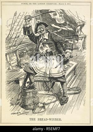 'The bread-winner'. A German captain depicted as a pirate. A cartoon of the First World War. Punch or the London charivari. London, 1915. Source: PP.5270, 3 March 1915, page 163. Author: Raven-Hill, Leonard. - Stock Photo