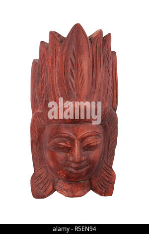 Wooden carved Sri Lankan mask isolated on white - Stock Photo