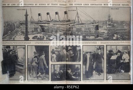 'Loss of 1,300 lives followed by scenes of tragic sorrow : The sunken liner contrasted with Trafalgar square. The Daily Mirror. London, April 17, 1912. Photographs of the relatives of the passangers, making enquiries. Source: The Daily Mirror, page 8. - Stock Photo