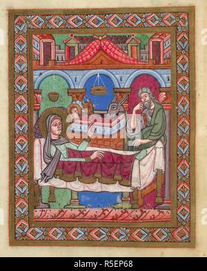 Miniature of the Nativity, prefacing the reading for Christmas. Gospel Lectionary, imperfect. Germany, S. (Swabia, possibly Hirsau); 1st quarter of the 12th century. Source: Egerton 809, f.1v. Language: Latin. - Stock Photo