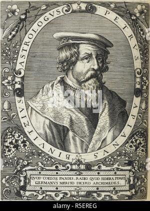 Peter Apian (1495-1552). German astronomer and geographer. Portrait. Icones quinquaginta virorum illustrium doctrina & eruditione ... 4 pt. T. de Bry: Francofurti (Frankfurt), 1597-99. Source: 611.e.5, volume 1, page 270. - Stock Photo