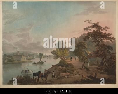 Figures and horses on a road on the right-hand side; a river with a sailing boat in the centre of the scene; horses in the water; factory buildings with smoking chimneys on the left-hand side; trees and foliage throughout the landscape. VIEW OF MILLBANK ON THE RIVER THAMES NEAR LONDON. [London] : [Published June 4. 1795, by F. Jukes Howland Street], [June 4 1795]. Aquatint and etching with hand-colouring. Source: Maps K.Top.28.13.b. Language: English. Author: JOHN LAPORTE. - Stock Photo