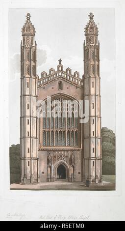 Scholars standing by the west entrance of King's College Chapel, Cambridge; choristers standing inside the chapel. West End of King's College Chapel. [England] : [publisher not identified], [about 1800-1820]. Aquatint and etching with hand-colouring. Source: Maps K.Top.8.58.n. Language: English. - Stock Photo