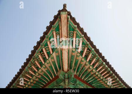 South Korea, Gyeongju, Bulguksa Temple, Roof Detail - Stock Photo