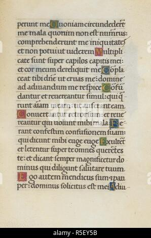 Text page; Psalm 39. Mirandola Hours. Italy, circa 1490-1499. [Whole folio] Text folio from the Office of the Dead, with the end of Psalm 39. Image taken from Mirandola Hours. Originally published/produced in Italy, circa 1490-1499. Source: Add. 50002, f.102. Language: Latin. Stock Photo