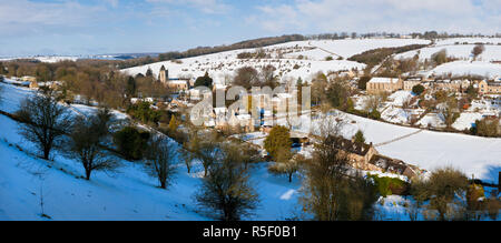Naunton village in the snow, nr Stow On The Wold, Gloucestershire, UK - Stock Photo