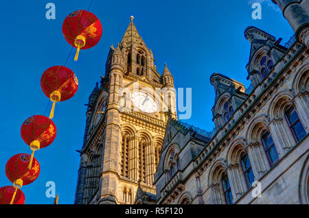 UK, England, Greater Manchester, Manchester, Albert Square, Manchester Town Hall with Chinese Lanterns celebrating Chinese New Year - Stock Photo