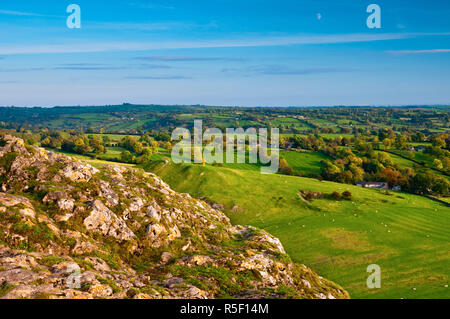 UK, England, Derbyshire, Peak District National Park, River Manifold Valley near Ilam from Thorpe Cloud (MR) - Stock Photo