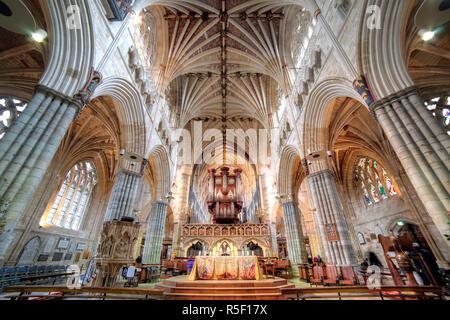 Exeter Cathedral, Exeter, Devon, UK - Stock Photo