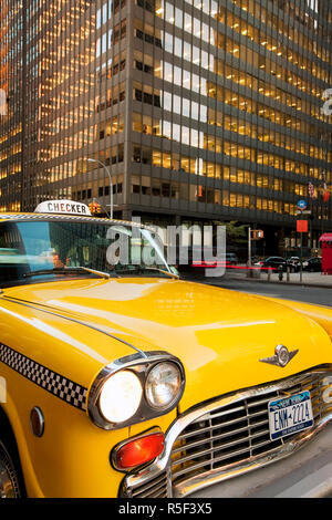 USA, New York City, Manhattan, Downtown Financial District, Yellow NYC Checker Taxi - Stock Photo