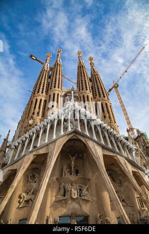 Wonderful scenic picture of the La Sagrada Familia catholic church in Barcelona, Spain - Stock Photo