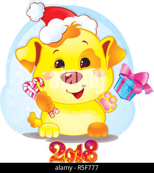 happy 2018 new year card funny puppy congratulates on holiday symbol of chinese horoscope