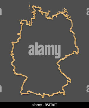 Germany map in picture frame look with golden brown outline shape