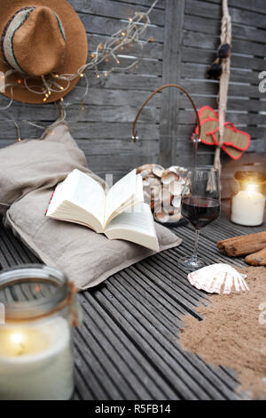 maritime still life with a book - Stock Photo