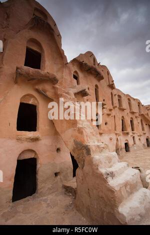 Tunisia, Ksour Area, Ksar Ouled Soltane, ruins of ancient grain storage ksar building - Stock Photo