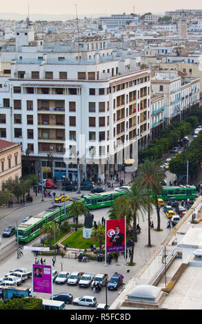 Tunisia, Tunis, Avenue Habib Bourguiba, elevated view towards Place de L'Independance - Stock Photo
