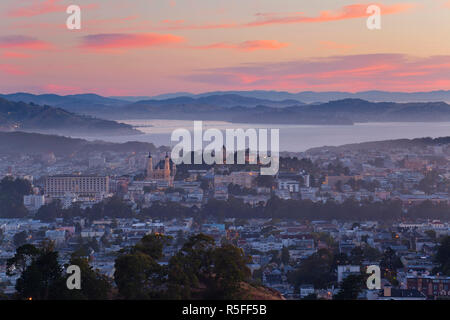 City skyline viewed from Twin Peaks, San Francisco, California, USA - Stock Photo