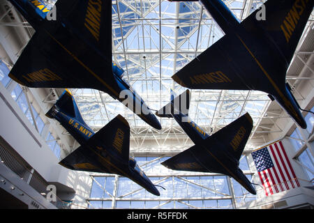 USA, Florida, Florida Panhandle, Pensacola, National Naval Aviation Museum, NAS Pensacola, display of A-4 Blue Angels jets - Stock Photo