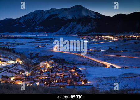 USA, Colorado, Crested Butte, Mount Crested Butte Ski Village - Stock Photo