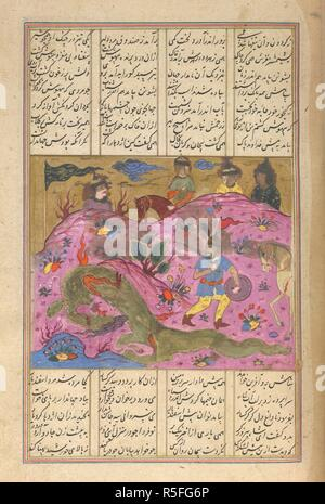 Isfandiyar and the dragon. Shahnama of Firdawsi, with 49 miniatures. Opaque w. 1590-1600. Isfandiyar and the dragon. Discoloured and damaged. The green paint of the dragon has rotted the page: the silver paint has run and blackened badly. 11.5 by 14.5 cm.  Image taken from Shahnama of Firdawsi, with 49 miniatures. Opaque watercolour. Safavid/Isfahan style.  Originally published/produced in 1590-1600. . Source: I.O. ISLAMIC 3254, f.295. Language: Persian. - Stock Photo