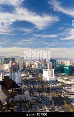 United States of America, Nevada, Las Vegas, Elevatred view of the Hotels and Casinos along the Strip - Stock Photo