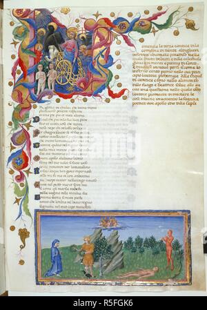 Ascent from Earthly Paradise. Divine Comedy. Italy [Tuscany]; circa 1442-1450. [Whole folio] Paradiso, Canto I. Initial 'L', Christ standing in benediction in a golden chariot drawn by a griffon; symbols of the Evangelists; two souls. At foot, Dante prepares to enter the circles of Paradise. On the summit of Parnassus Dante seeks inspiration from Apollo who offers him two laurel wreaths; Beside Apollo is a laurel tree; the Muses on a bank of clouds; Marsyas flayed and prostrate; Marsyas playing the flute  Image taken from Divine Comedy.  Originally published/produced in Italy [Tuscany]; circa  - Stock Photo
