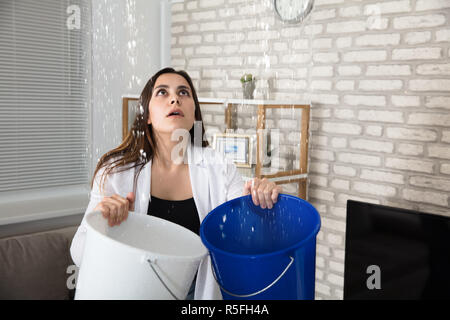 Woman Collecting Leaking Water In Bucket - Stock Photo