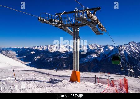 austria - ski lift am wildkogel near neukirchen - Stock Photo