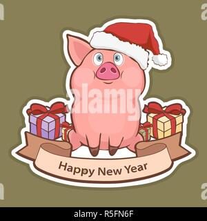 Happy New Year sticker, card with a cute funny pig in Santa hat, gift boxes and greeting tape with a white stroke isolated on green background, vector - Stock Photo