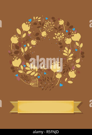 Graceful Card. Ring of flowers, plants and hearts - Stock Photo