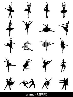 Black silhouettes of ballerinas on white background, vector - Stock Photo