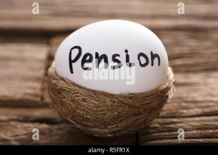 Pension Written On White Egg In Nest - Stock Photo