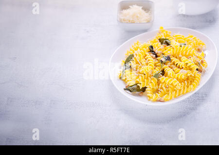 Pasta with garlic and sage - Stock Photo