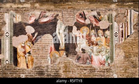 Frescoes, 14th century, damaged in WW2, at Church of the Eremitani, Padua, Veneto, Italy - Stock Photo