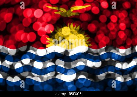 Kiribati abstract blurry bokeh flag. Christmas, New Year and National day concept flag. - Stock Photo