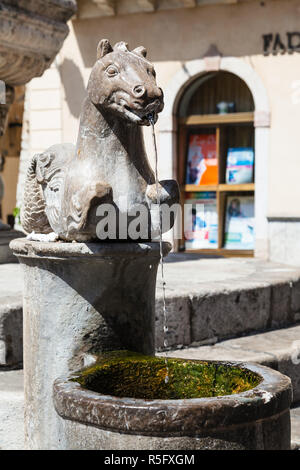 detail of fountain on Piazza Del Duomo in Taormina - Stock Photo