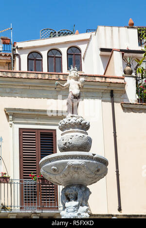 top figure of baroque style fountain in Taormina - Stock Photo
