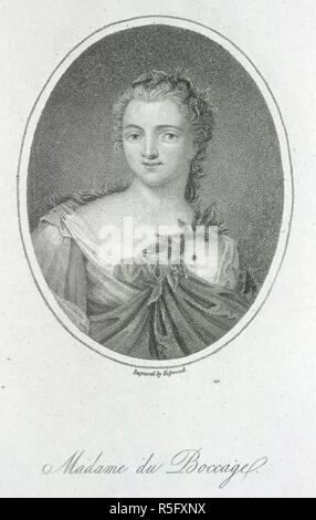Madame du Boccage. [A collection of engraved and lithographed Portrai. [1610?-1860?]. Anne-Marie Fiquet du Boccage, née le Page (1710-1802). Portrait.  Image taken from [A collection of engraved and lithographed Portraits of English poetesses; made by F. J. Stainforth, together with a few autograph letters, etc.].  Originally published/produced in [1610?-1860?]. . Source: 1876.f.22, 24. Language: English. Author: Hopwood. - Stock Photo