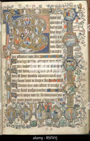 Psalter, Gallican version.  Large historiated initial 'B', containing Tree of Jesse. in medallions in lower and outer borders, beginning bottom 1 .: - (i) The Almighty between cherubim. (ii) Creation of Eve; Hellmouth on 1 . (iii) The Almighty warning Adam and Eve, and the Fall. (iv) Adam and Eve hiding from the Almighty, and the Expulsion. (v) Adam digging, Eve spinning; offerings of Cain and Abel, and death of Abel. (vi) Lamech killing Cain, and death of the boy Jabal. (vii) Building of the Ark. (viii) Noah and family entering the Ark; outside, the raven feeding on dead horse. (ix) Drunkenne - Stock Photo