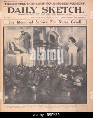 'The memorial service for Nurse Cavell'. Photograph of the memorial service at St. Paul's Cathedral for Edith Cavell. London, 1915. Source: Daily Sketch, 30 October 1915, front page. - Stock Photo
