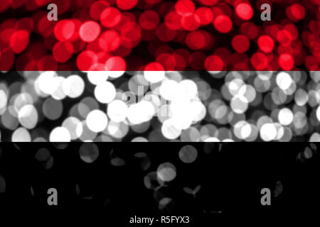 Yemen abstract blurry bokeh flag. Christmas, New Year and National day concept flag. - Stock Photo